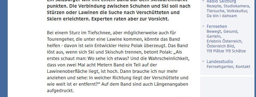 Ein netter kleiner Beitrag auf ORF salzburg über die neue Innovation vom Heinz Polak. Find---me! soll Suche in Lawinen erleichtern.
