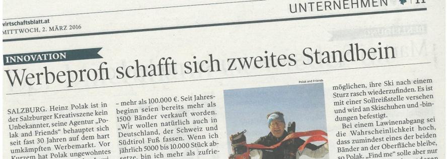Wirtschaftsblatt Salzburg - 02. März 2016 - Werbeprofi schafft sich zweites Standbein