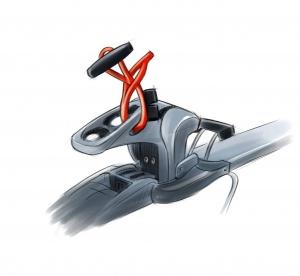 find---me I Modell 2019, Kordel ist am Hinter- oder Vorderbacken der Skibindung einfach zu befestigen.