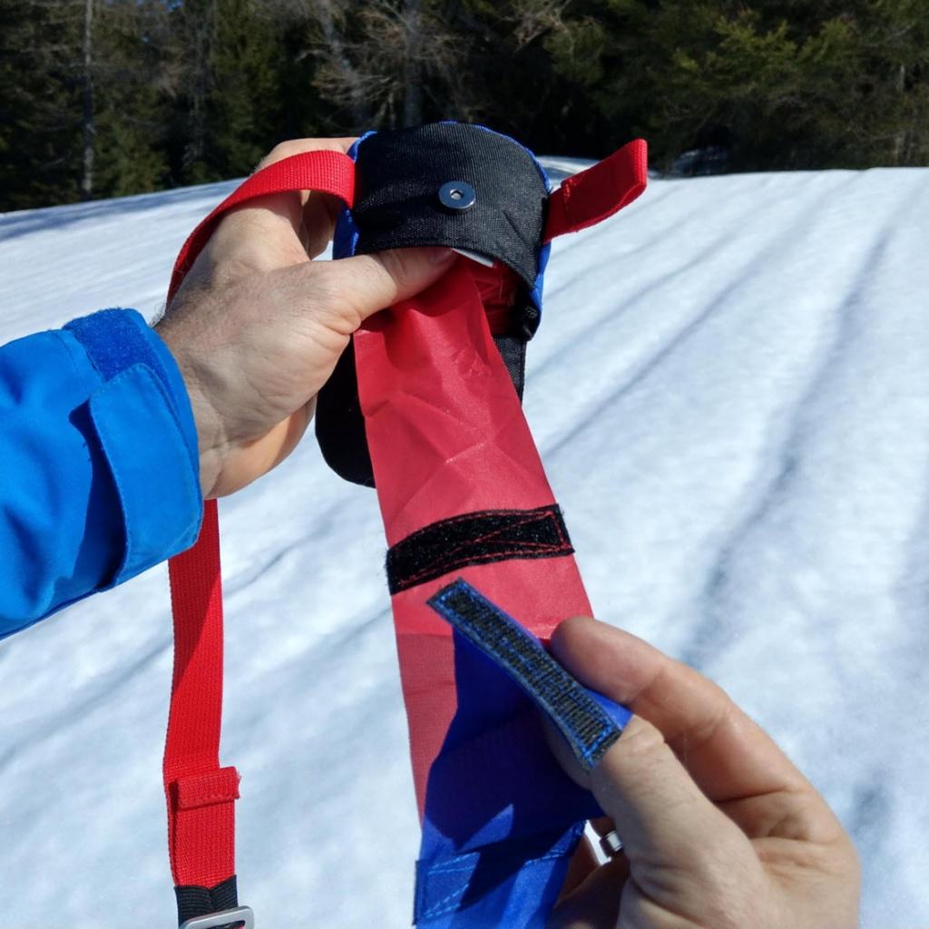 find---me: Ein Klettverschluss als Sollreissstelle gegen Ankerwirkung in der Lawine und Verletzungen