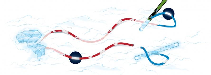find---me Lawinen- und Tiefschneebänder. Mensch ist rot, Ski sind blau