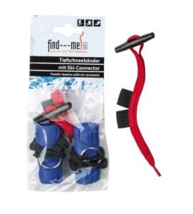 Ein Paar kklassische Tiefschneebänder jedoch mit Ski-Connectoren und Notfallinformationen